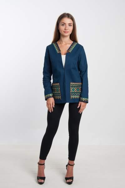 Жакет з вишивкою і накладними кишенями, арт. 4177