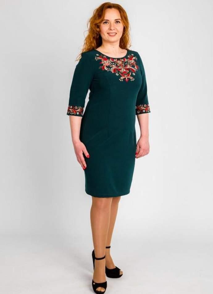 Платье батал с вышивкой, арт. 4182-зеленое