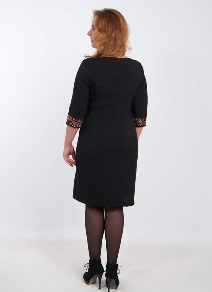 Вышитое платье черное, арт. 4182 батал