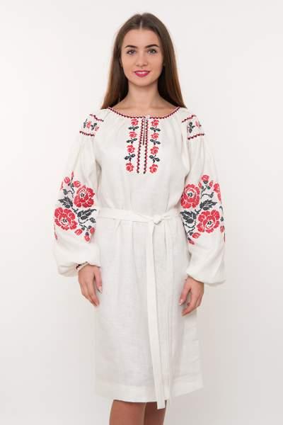 Дизайнерское вышитое платье на льне, арт. 4183