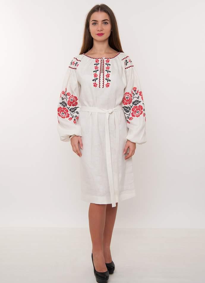 Дизайнерська вишита сукня (плаття) на льоні, арт. 4183