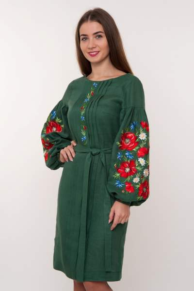 Зеленое платье с вышивкой маки, арт. 4184