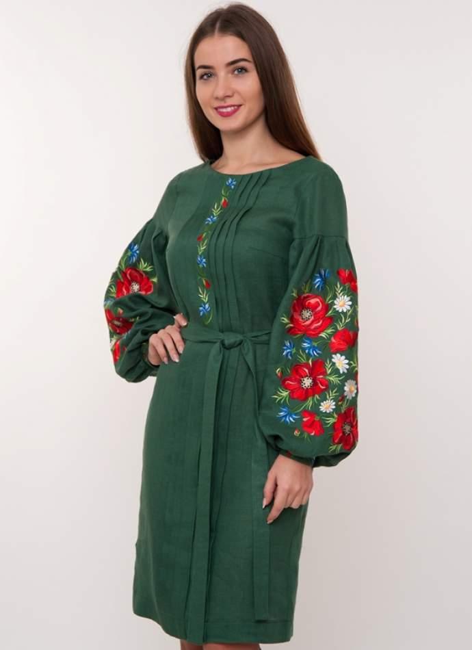 Зелене плаття з вишивкою маки, арт. 4184