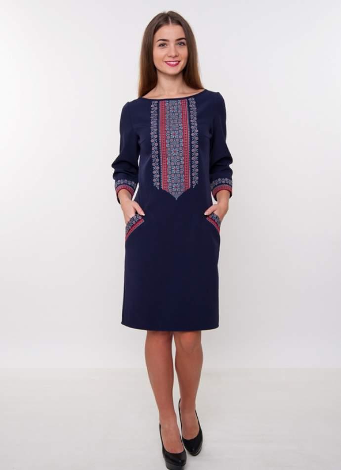 Синее платье с вышивкой, арт. 4186