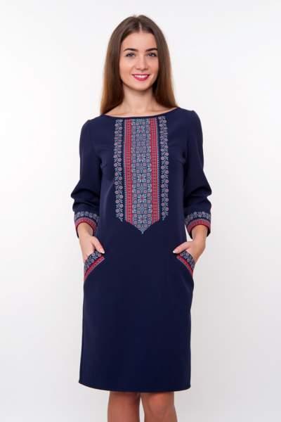 Синє плаття з вишивкою, арт. 4186