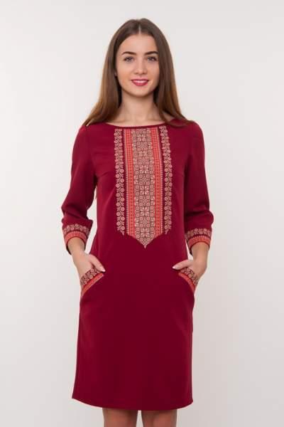 Бордове плаття з вишивкою, арт. 4188