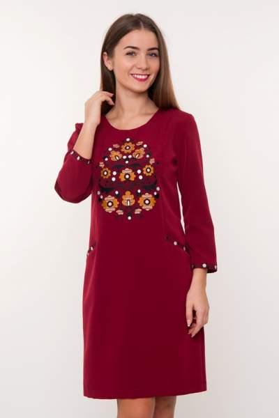 Бордовое платье с вышивкой, арт. 4189
