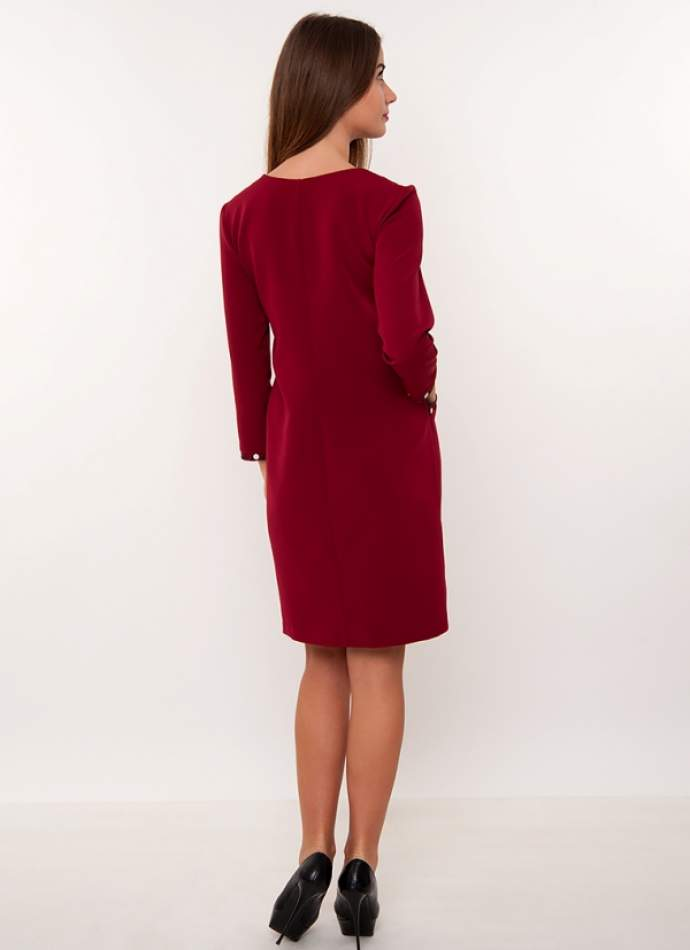 Бордове плаття з вишивкою, арт. 4189