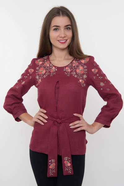 Вышитая блуза с цветами (вышиванка) арт. 4190
