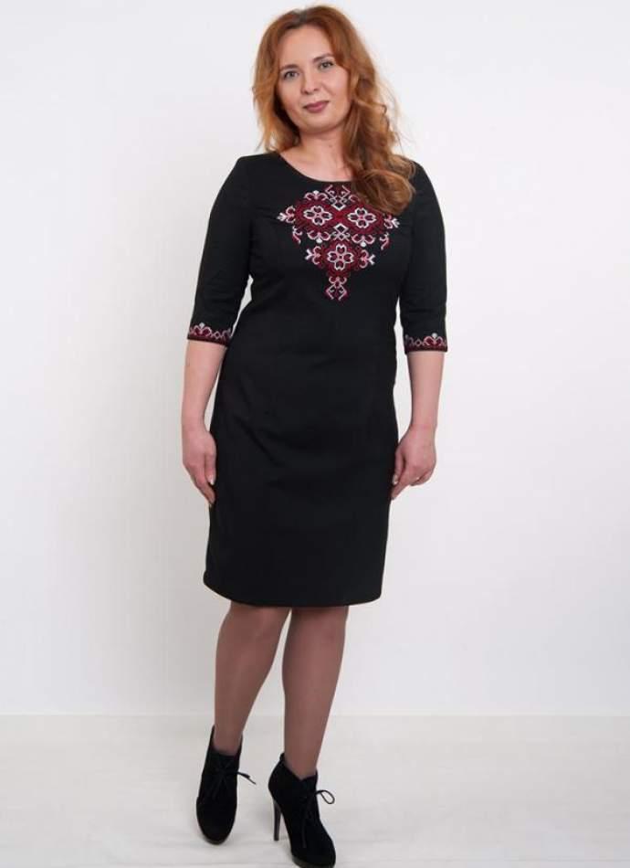 Вышитое платье черное, арт. 4191 большие размеры