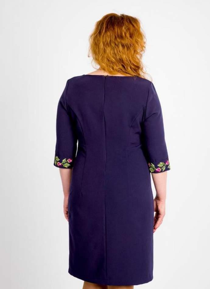 Синє плаття вишите, арт. 4193 великі розміри