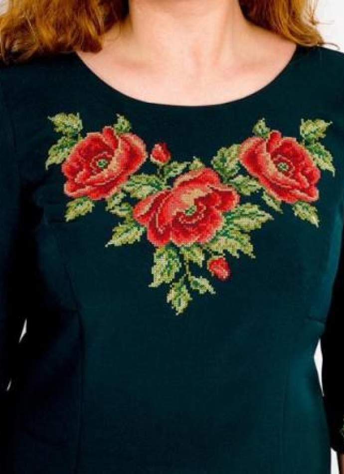 Зеленое платье с вышивкой, арт. 4194 большие размеры