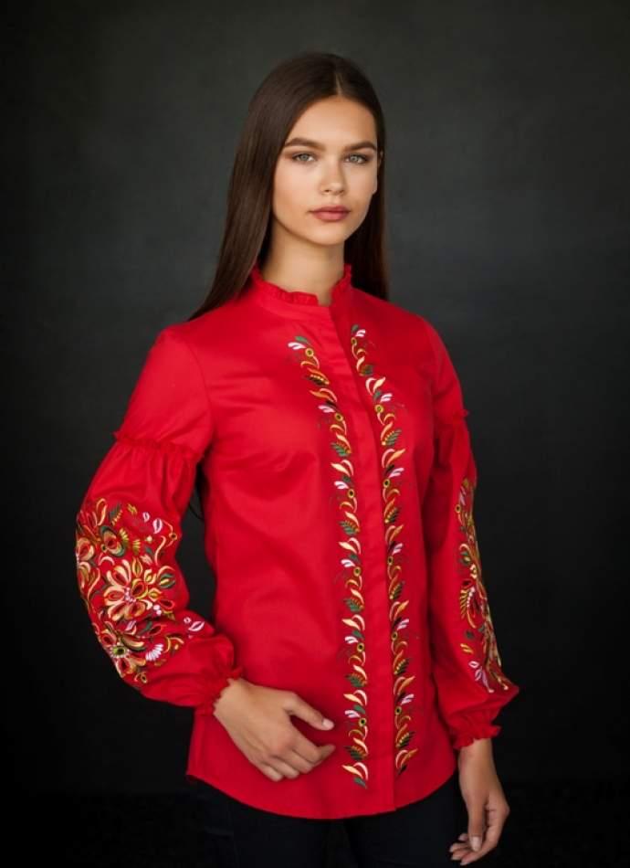 Вышиванка женская: петриковская роспись и ришелье, арт. 4195