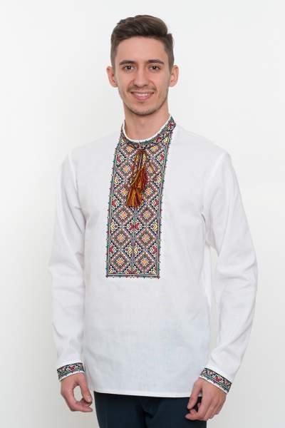 Белая рубашка с вышивкой крестиком мужская, арт. 4206