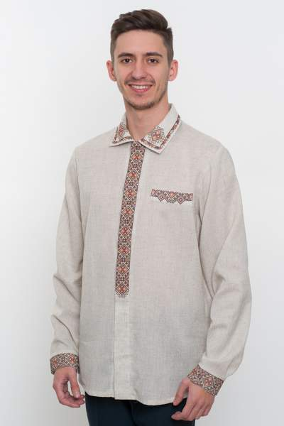 Сорочка з вишивкою сіра, арт. 4209