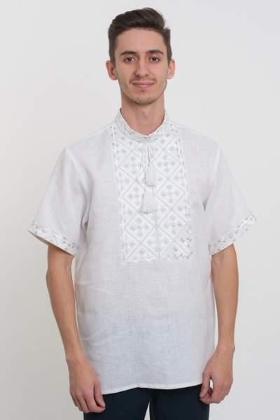 Льняная вышиванка белым по белому, арт. 4210к.р-лен