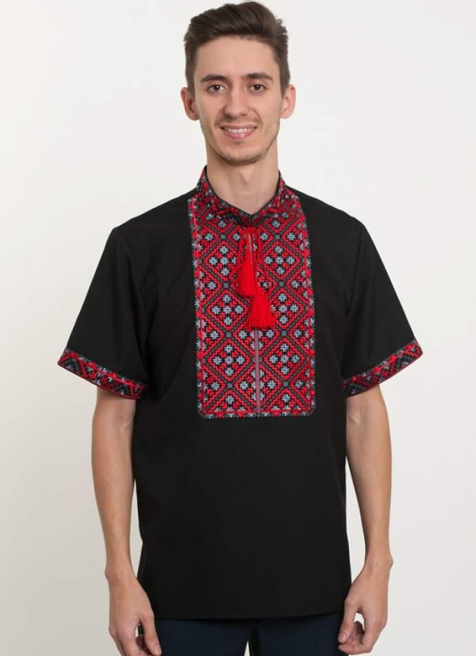 Черная рубашка с вышивкой, арт. 4218к.р.