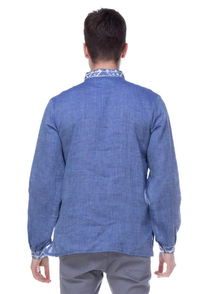 Льняная рубашка синяя с вышивкой, арт. 4219