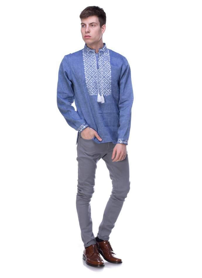 Льняна сорочка синя з вишивкою, арт. 4219