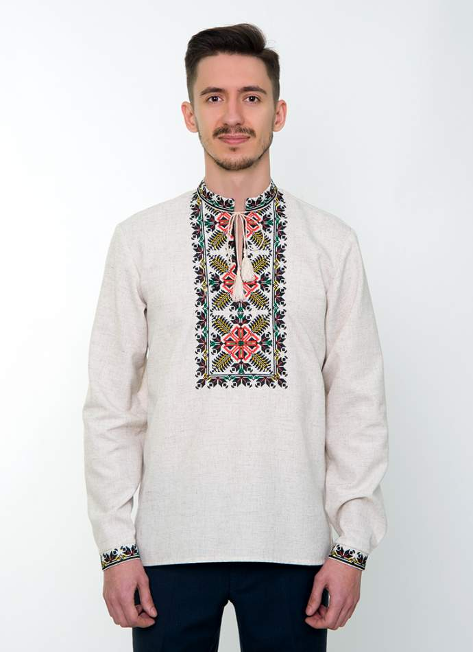 Серая вышитая рубашка мужская, арт. 4232 Яромир