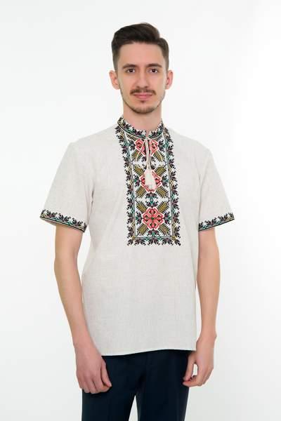 Серая вышитая рубашка мужская, арт. 4232к.р. Яромир