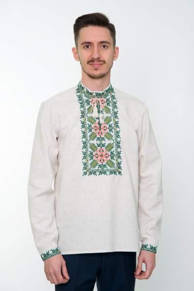 Серая вышитая рубашка мужская, арт. 4233 Яромир