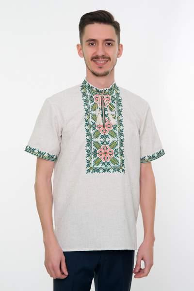 Серая вышитая рубашка мужская, арт. 4233к.р. Яромир