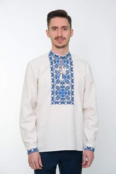 Серая вышитая рубашка мужская, арт. 4234 Яромир