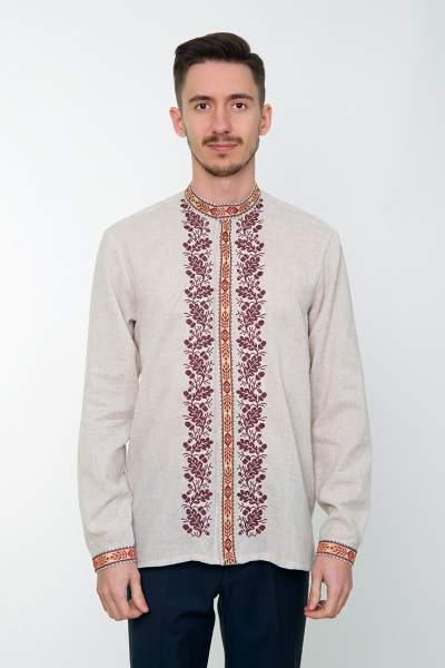 Серая вышитая рубашка мужская, арт. 4235 Дубомир