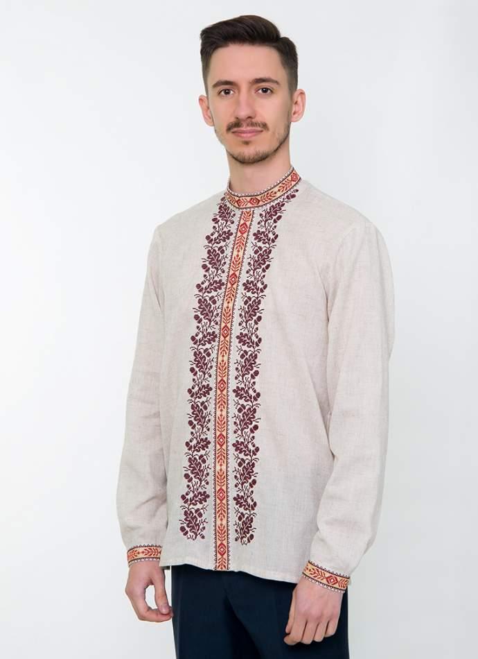 Сіра вишита сорочка чоловіча, арт. 4235 Дубомир