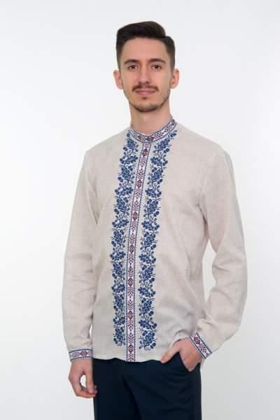 Серая вышитая рубашка мужская, арт. 4236 Дубомир