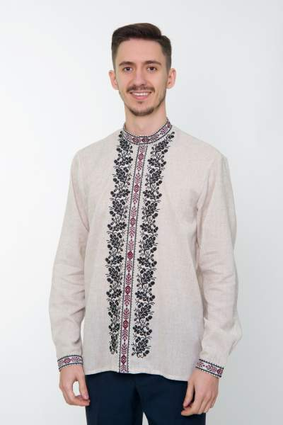 Сіра вишита сорочка чоловіча, арт. 4237 Дубомир
