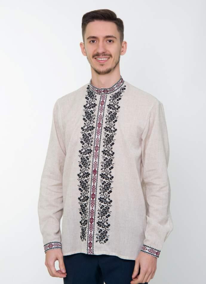 Серая вышитая рубашка мужская, арт. 4237 Дубомир