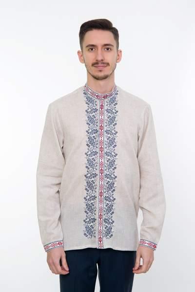Серая вышитая рубашка мужская, арт. 4238 Дубомир