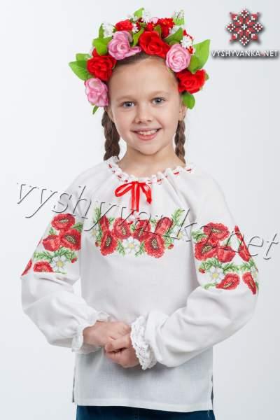 """Дитяча вишиванка на дівчинку """"маки"""", арт. 4301"""