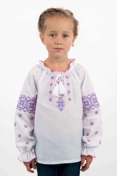 """Вишиванка на дівчинку """"рожево-синій орнамент"""", арт. 4317"""