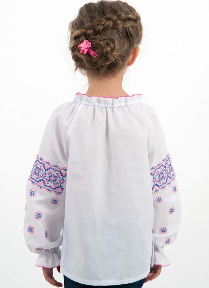 """Вышиванка на девочку """"розово-синий орнамент"""", арт. 4317"""