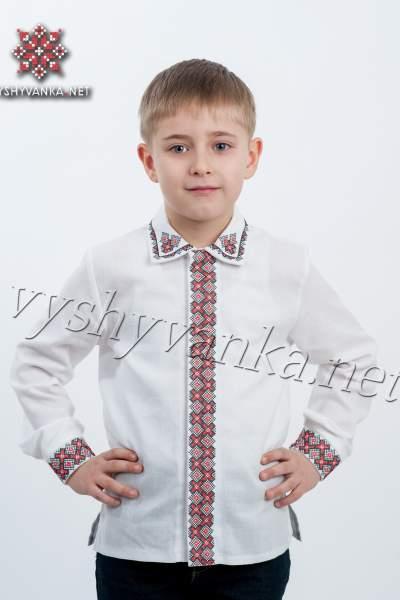 Вышитая рубашка для мальчика с отложным воротником, арт. 4406