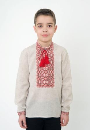 Детская рубашка вышитая для мальчика, арт. 4410сіра
