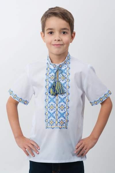 Рубашка с желто-синей вышивкой детская, арт. 4414к.р.