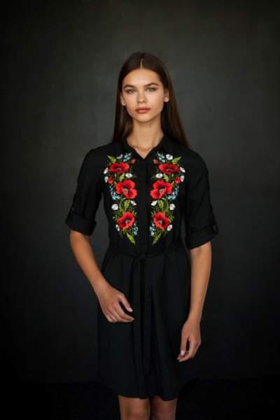 Платье рубашка черное с вышивкой маки, арт. 4501