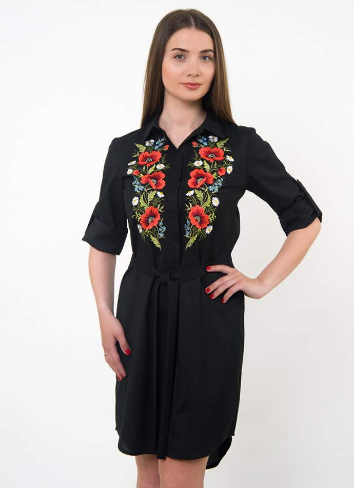 Сукня-сорочка чорна з вишивкою маки, арт. 4501