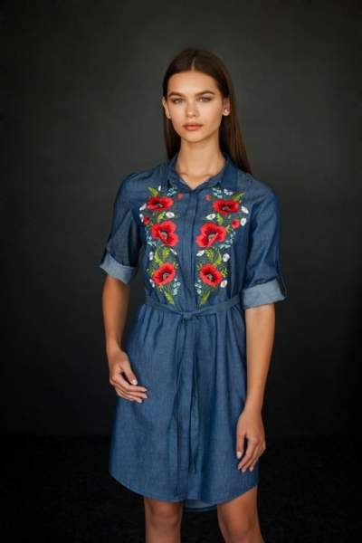 Жіноче плаття сорочка (маки), арт. 4502