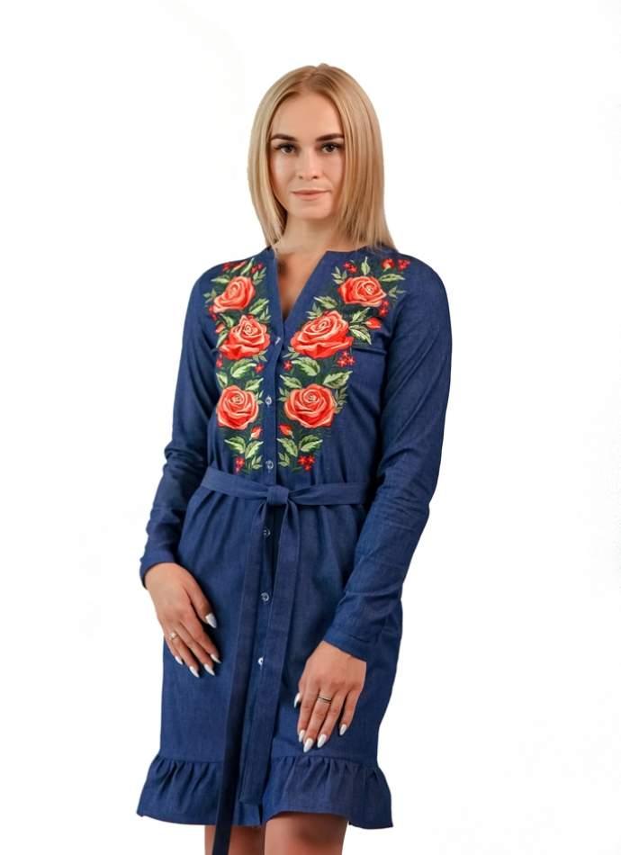 """Сукня-сорочка з вишивкою """"троянди"""", арт. 4522д.р."""