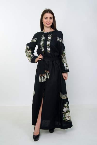 Плаття вишиванка в підлогу (чорне), арт. 4529