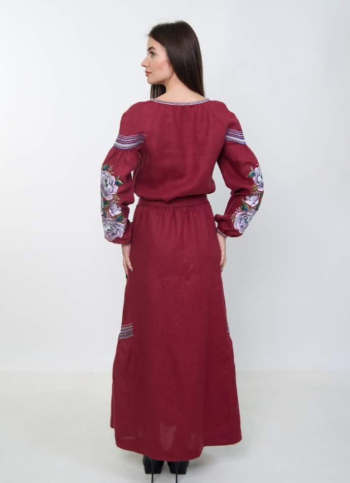 Вишите плаття в підлогу (бордове), арт. 4530