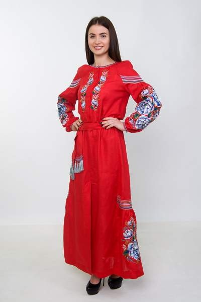 Плаття вишиванка в підлогу (червоне), арт. 4531