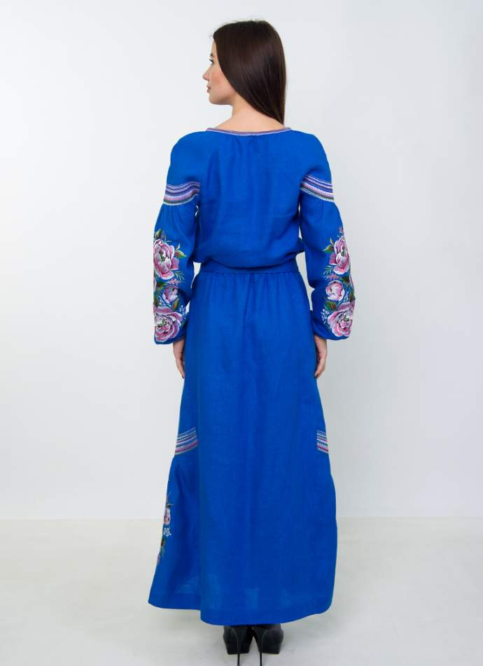 Плаття вишиванка в підлогу (синє), арт. 4533