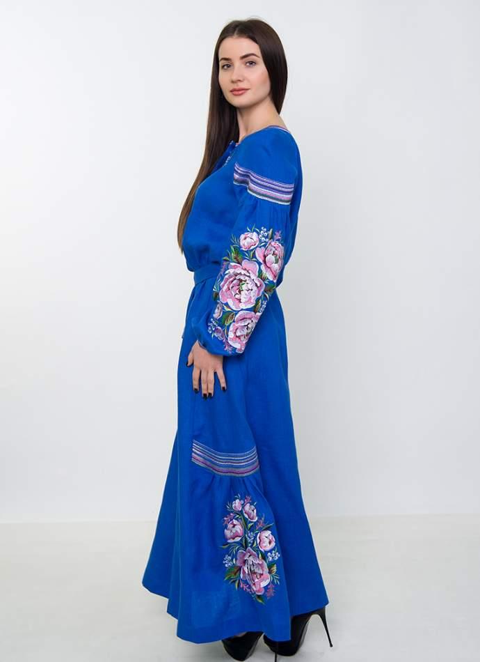 Платье вышиванка в пол (синее), арт. 4533
