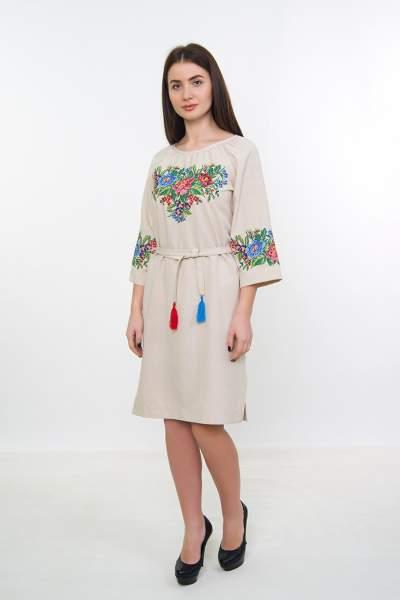 Платье с цветочной вышивкой (песочная), арт. 4534